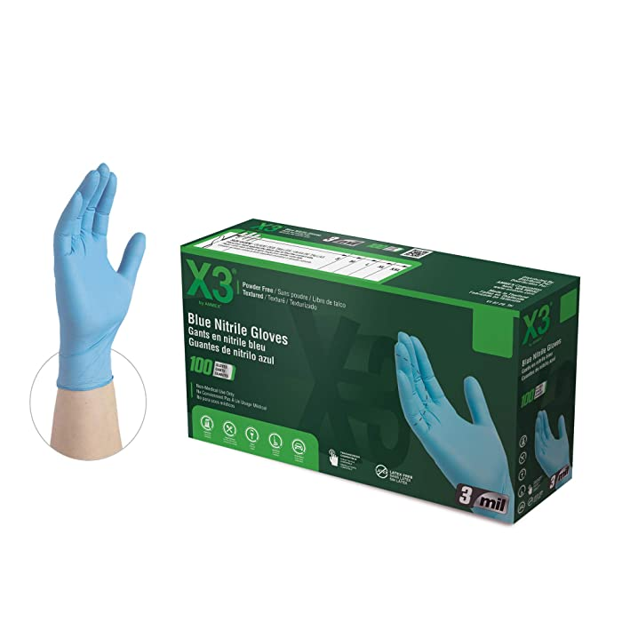 X3 Industrial Blue Nitrile Gloves, Box of 100, 3 Mil, Size XX-Large, Latex Free, Powder Free, Textured, Disposable, Non-Sterile, Food Safe, X349100BX