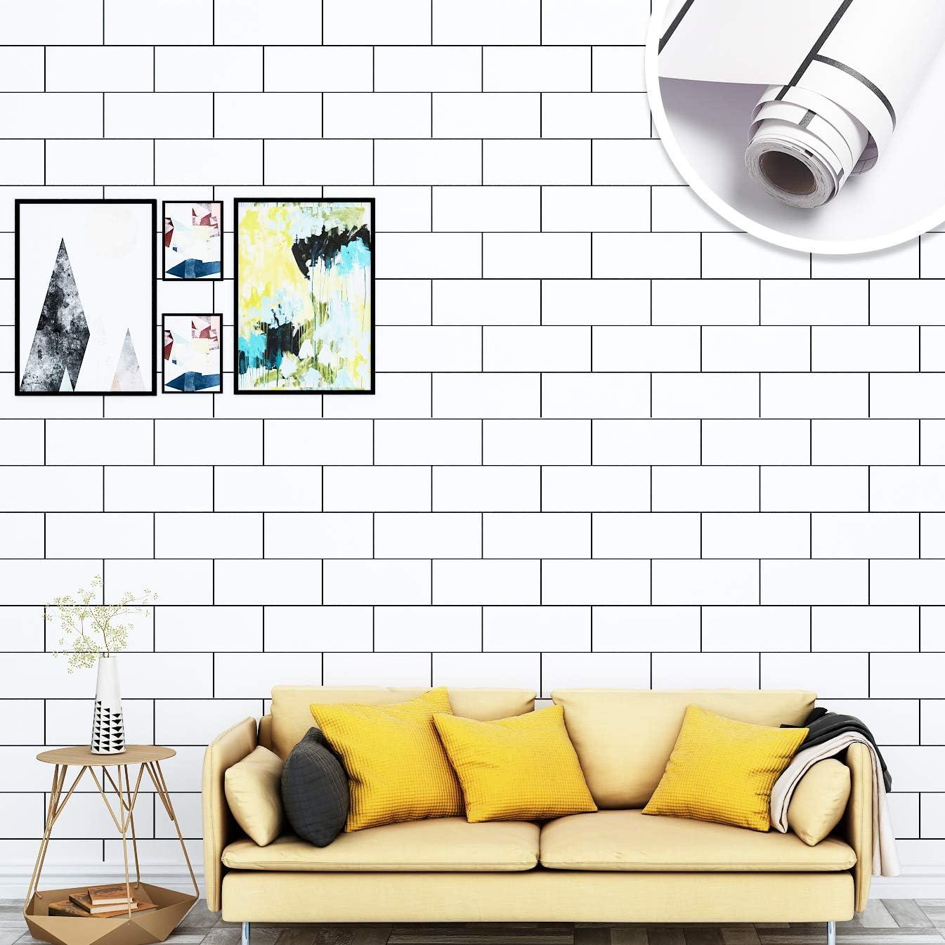 Yenhome 24 X 118 White Matt Self Adhesive Waterproof Vinyl Wall Paper For Kitchen Backsplash Peel And Stick Wallpaper For Bedroom Living Room Removable Wallpaper For Bathroom Wall Decor Amazon Com