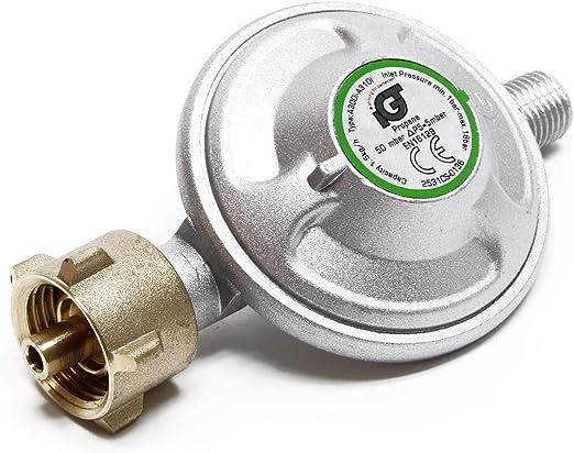 Druckminderer auf 50mbar mit 200cm Propanschlauch f/ür Gaszylinder mit 21,8x1,14L