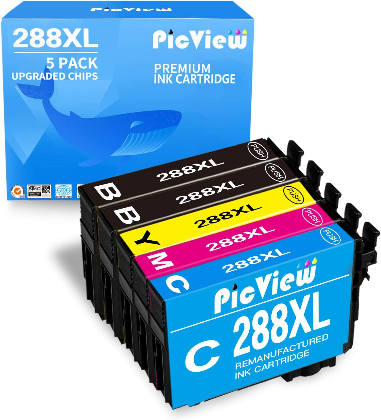 PicView Remanufactured 288 Ink Cartridge Replacement for Epson 288 XL 288XL T288XL for Expression Home XP-430 XP-340 XP-446 XP-440 XP-330 XP-434 Printer, 5 Pack (2 Black, 1 Cyan, 1 Yellow, 1 Magenta)