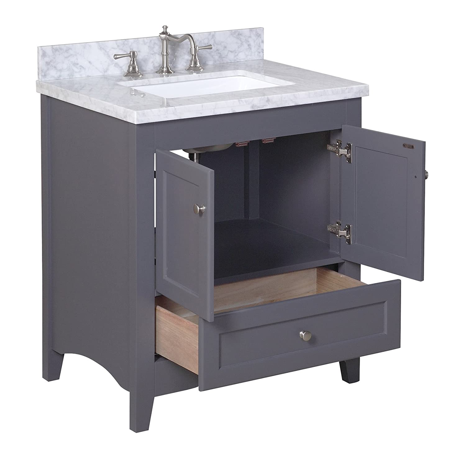 Kitchen Bath Collection KBC3830GYCARR Abbey Bathroom Vanity Set With Marble  Countertop, Cabinet With Soft Close Function And Undermount Ceramic Sink,  ...