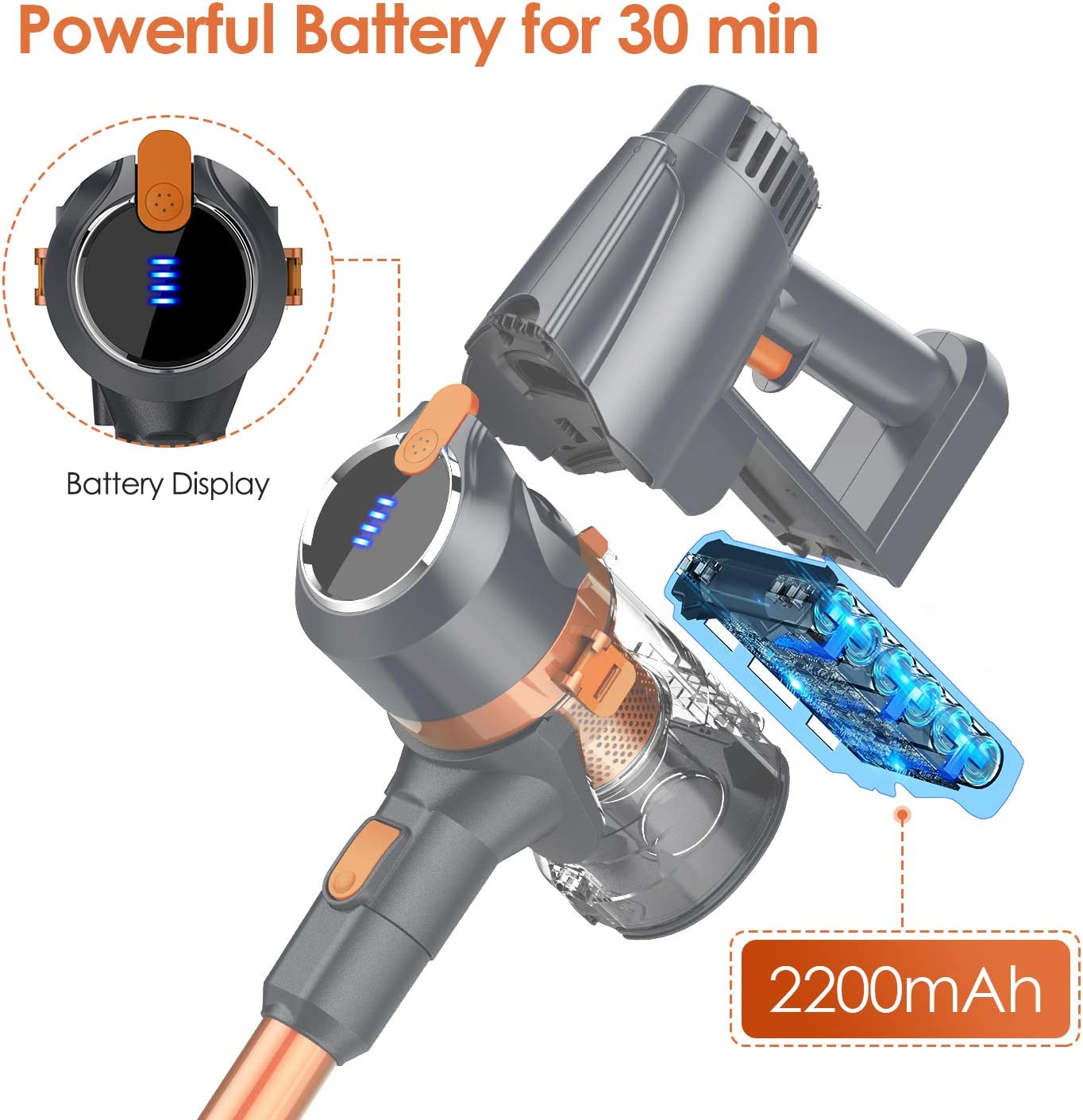 voiture Phare LED poils danimaux pour maison Multifonction Batterie 30 min Aspirateur Balai sans Fil sans Sac 22000 PA puissant 3 Vitesses bureau