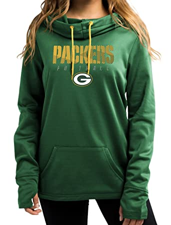 Green Bay Packers Women s Majestic NFL  quot Speed Fly quot  Cowl Neck  Hooded Sweatshirt 776e79395