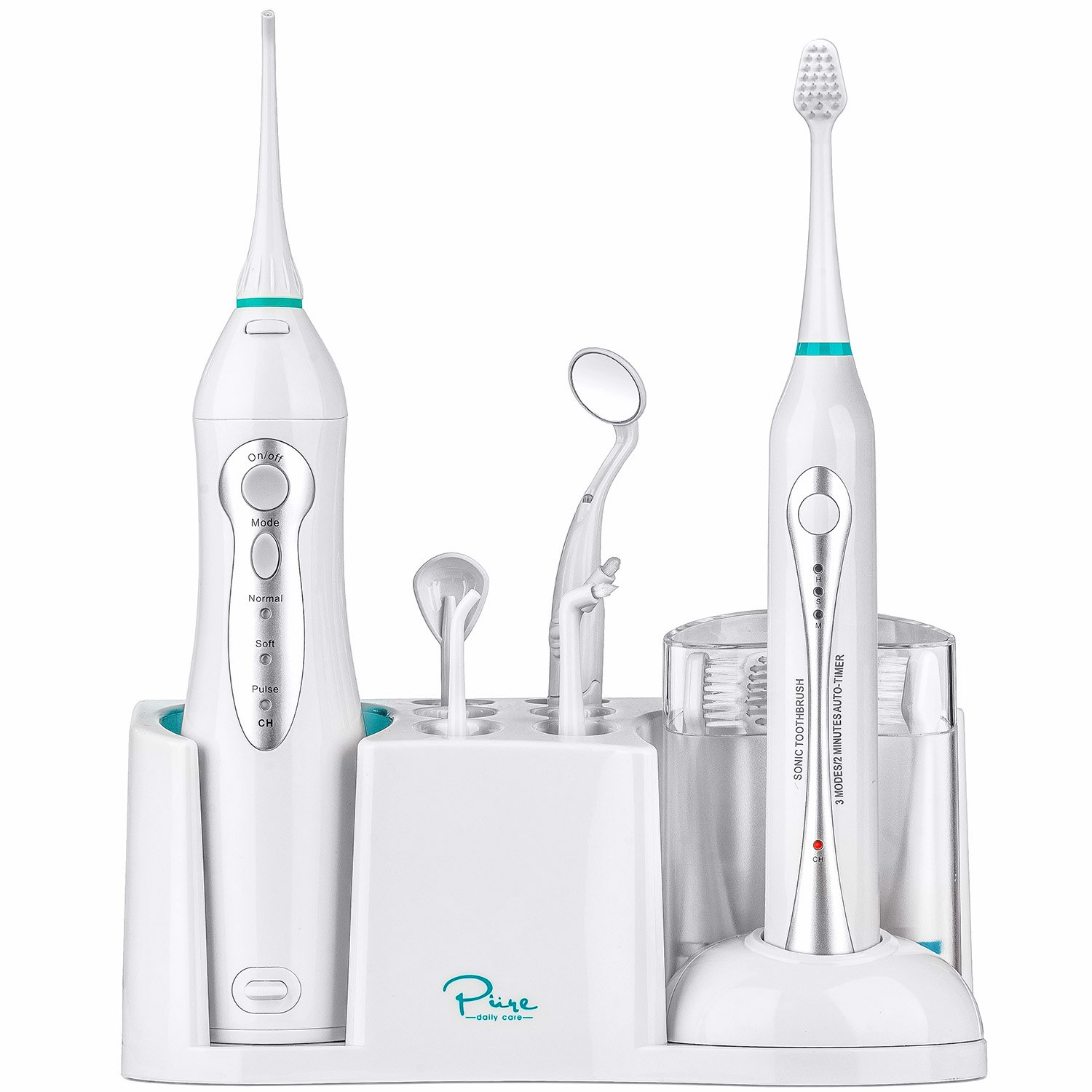 Home Dental Center - Ultra Sonic Electric Toothbrush & Smart Water Flosser - Complete Family Oral Care System - Rechargeable - 10 Attachments and Tips Included - Various Modes & Timers