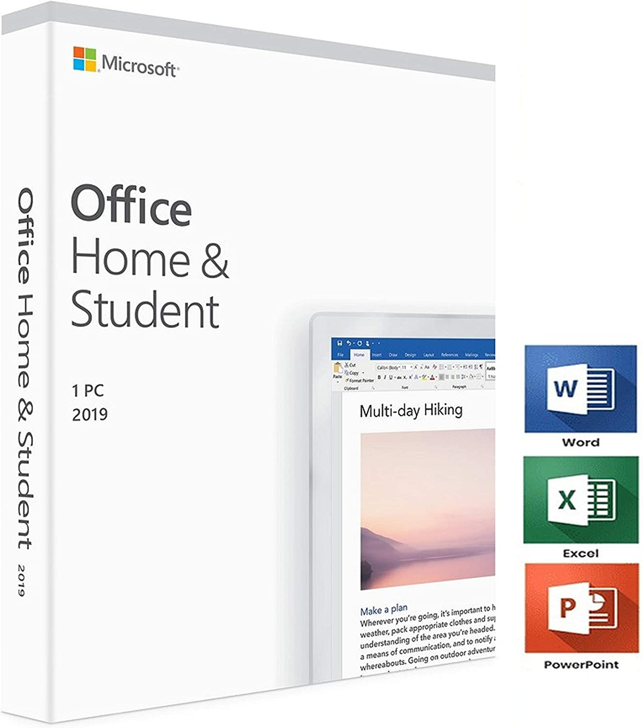 Office 2019 Home and Student | Only 1 PC | Only Windows 10 | 1 User | Box | New | Original | Office 2019 Home & Student