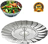 """BangShou Food Steamer Basket Collapsible Cooking Steamer Insert Stainless Steel Size 9"""""""