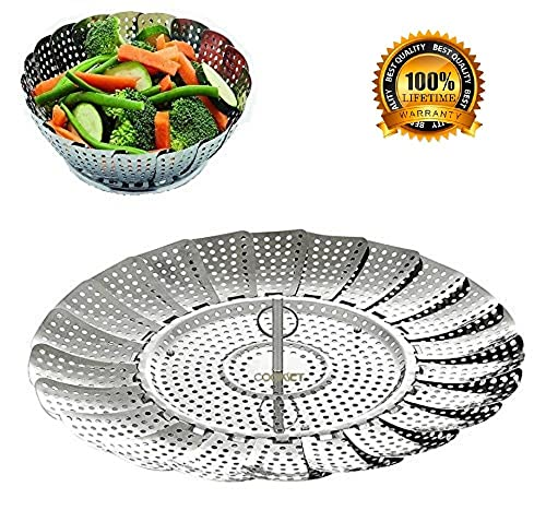 """BangShou Food Steamer Basket Stainless Steel Vegetable Steamer Insert Expandable to Fit Various Size Saucepan Instant Pot Pressure Cooker 9"""""""