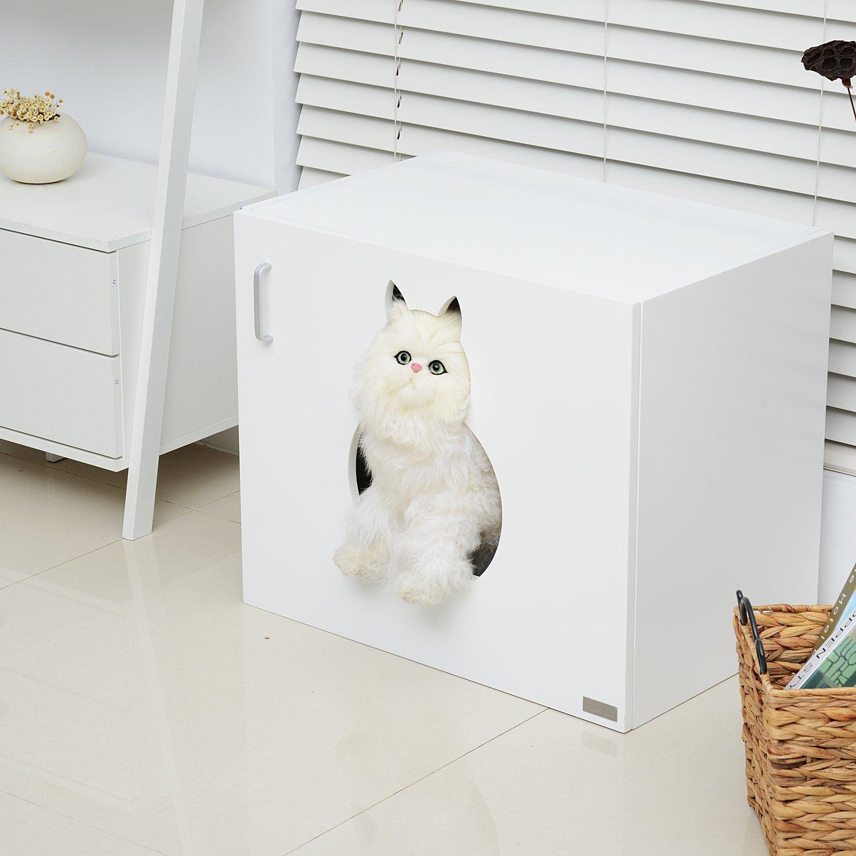 PawHut Katzenhöhle Katzenhaus Katzenschrank Versteck und Abdeckung ...