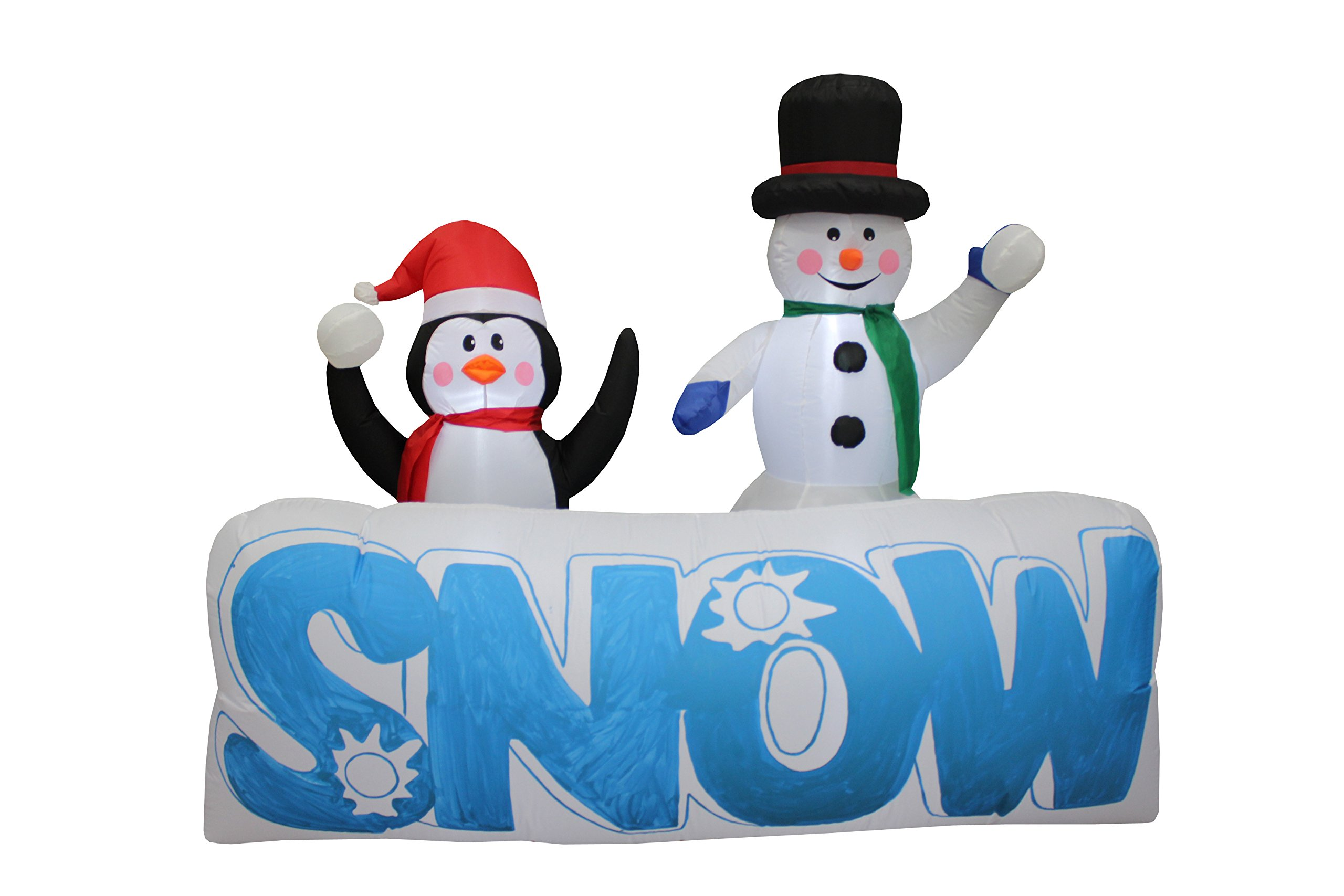 6 Foot Wide Christmas Inflatable Snowman and Penguin Outdoor Indoor Party Yard LED Lights Lighted Blowup Decoration