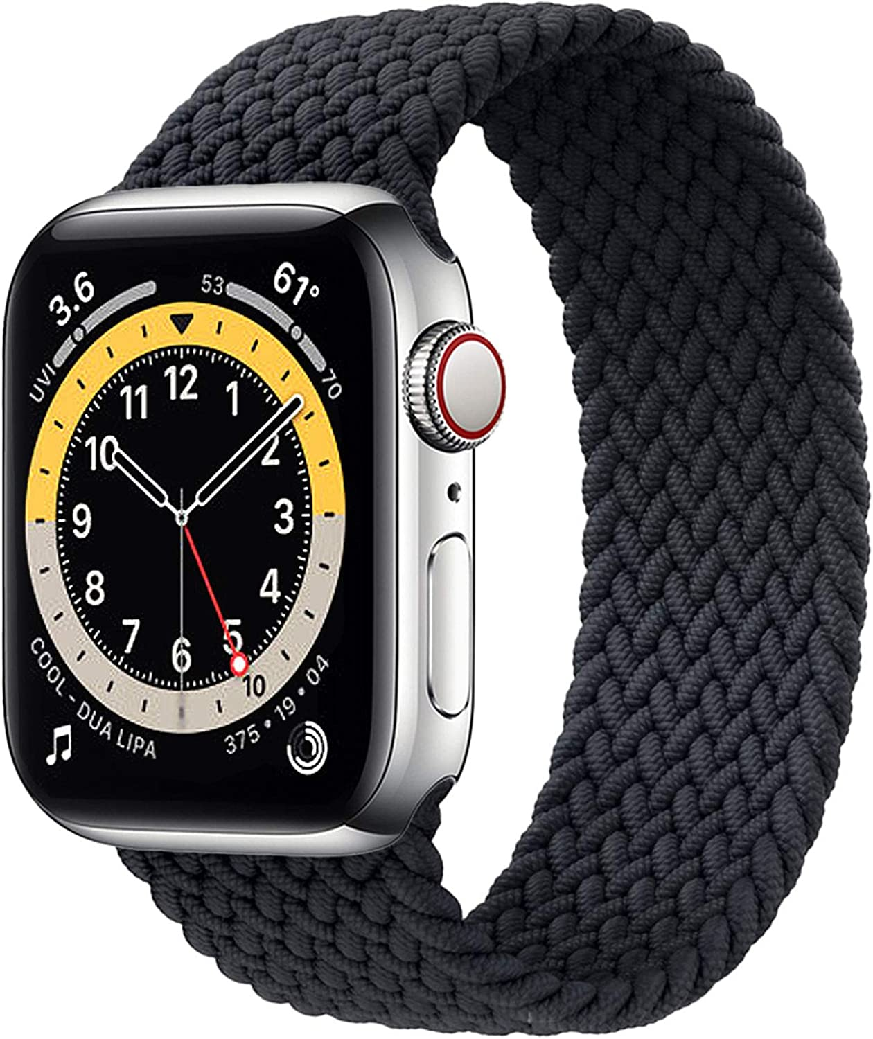 WAAILU Solo Loop Braided Band Woven Compatible for Apple Watch SE Series 6 40mm 44mm Compatible for Iwatch 5/4/3/2/1 38mm 42mm-(Charcoal-38/40-6)