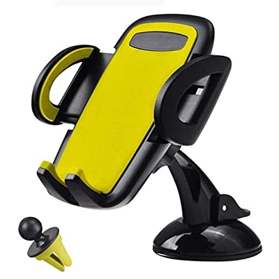 MQOUNY Car Phone Mount,2 in1 Dashboard Car Phone Holder and Air Vent Phone Holder for Car, Handsfree Cell Phone Car Mount Compatible with iPhone XR Xs Max Xs X 8 7 6 Plus, Samsung S10+ S10 S9 (Yellow)