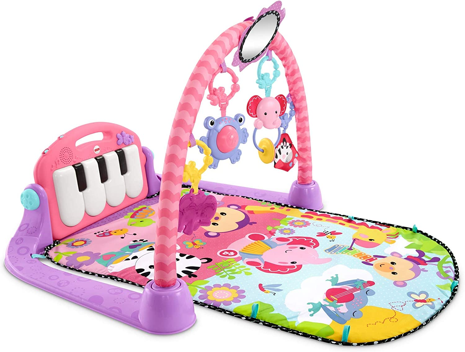 Fisher-Price Kick & Play Piano Gym-Pink, Color Multicolor (Rosa), 67.8 x 45.5 x 8.1 (Mattel BMH48)