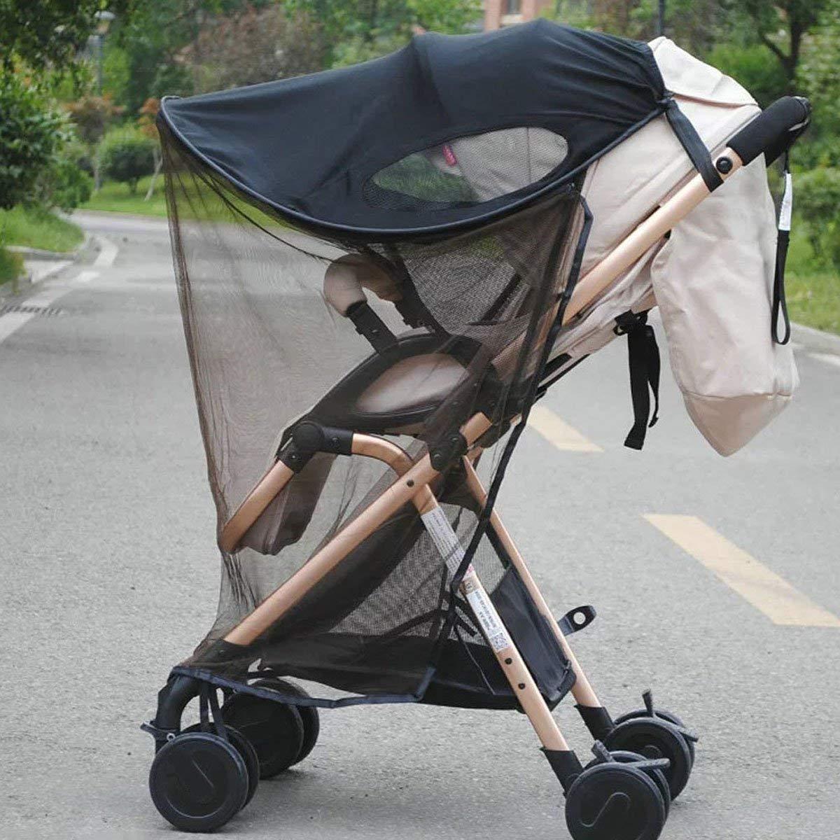 MHOYI Universal Buggy Sun Shade Pram Baby Sun Sail for Strollers Pushchairs Black 2