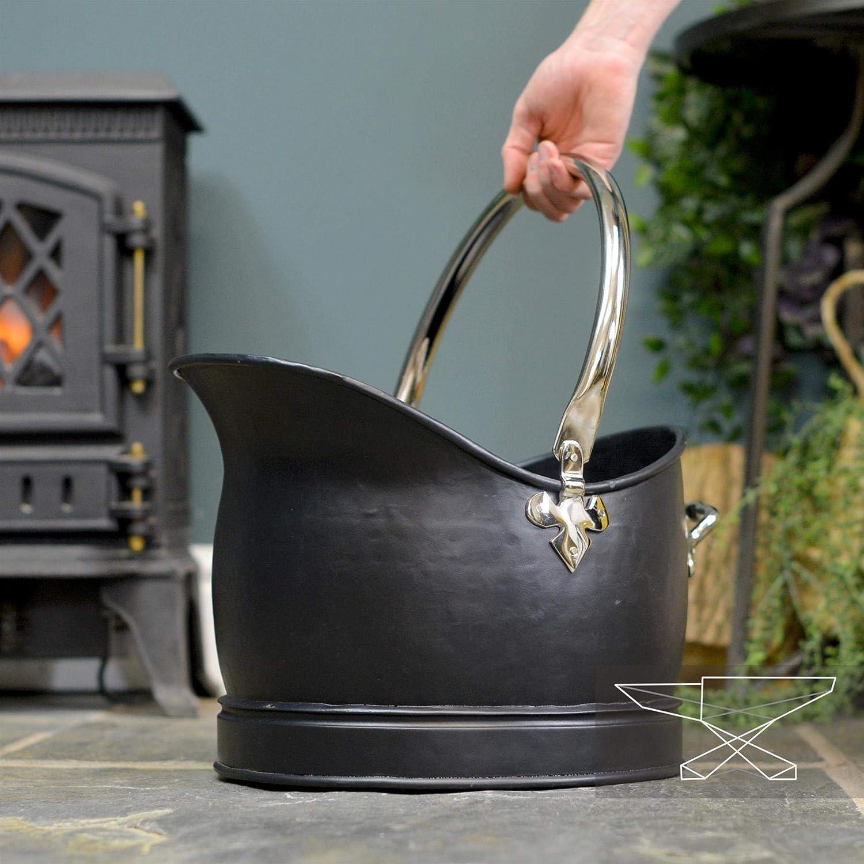 Hinswick Victorian Black Iron and Nickle Coal Bucket 41.5cm