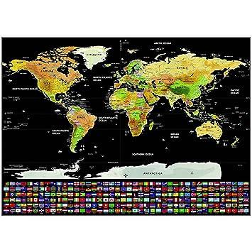 Lotonjt Weltkarte Rubbelweltkarte Weltkarte Zum Rubbeln In Schwarz