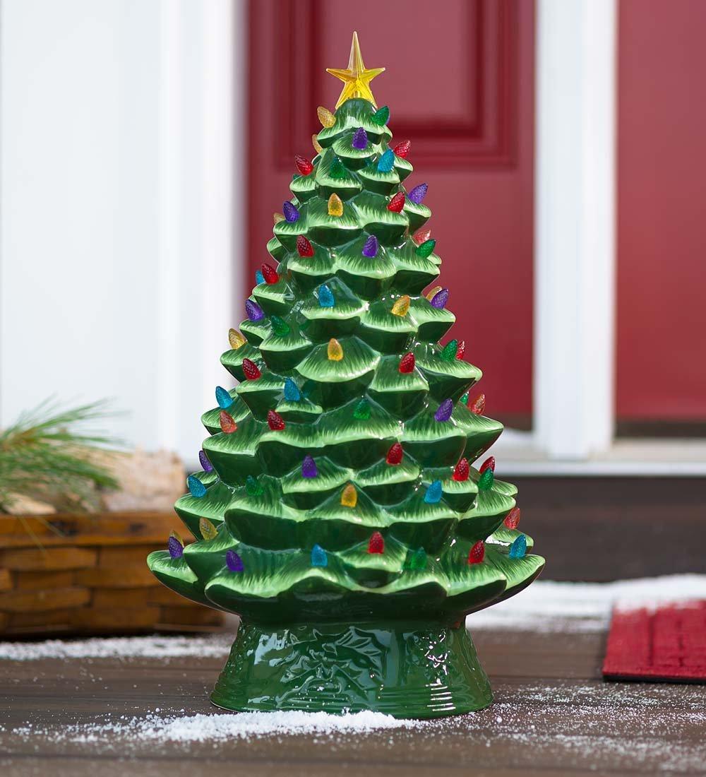 Amazon.com: Lighted Ceramic Christmas Tree, Battery-Operated - 10.5 ...