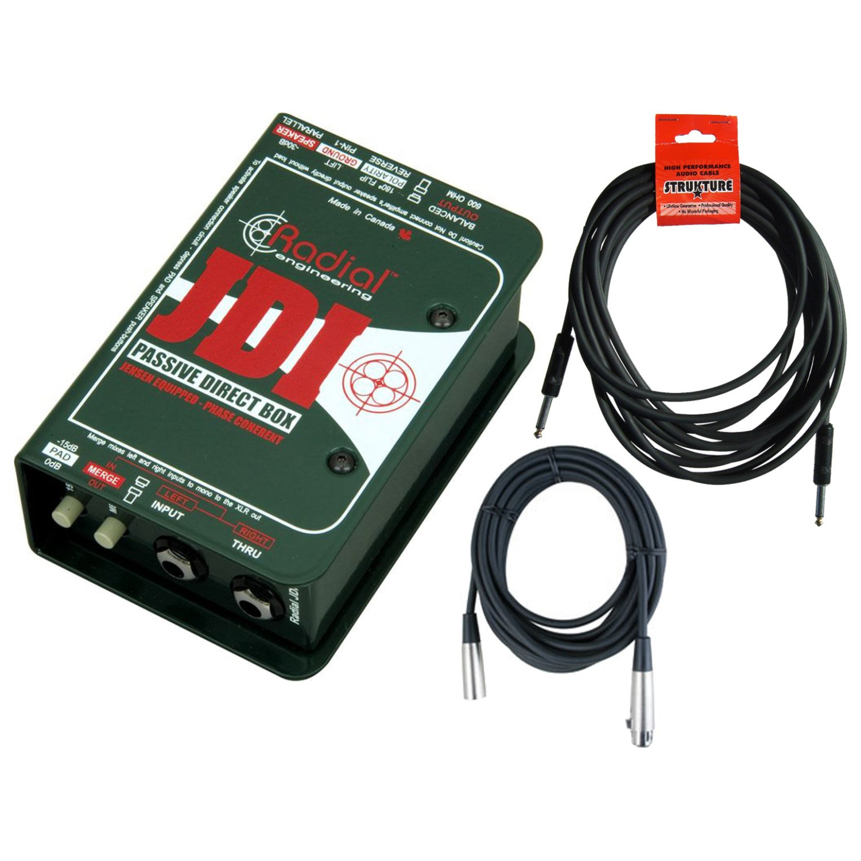 Radial Engineering JDI Mk3 Passive Direct DI Box w/ 2 Cables