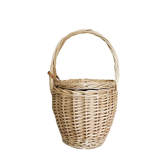 Amazon.com: George Gouge Women Bucket Bag Basket Picnic Natural Material Rattan Straw Bag Large Capacity Beach Bags Bolsa Willow Color: Shoes