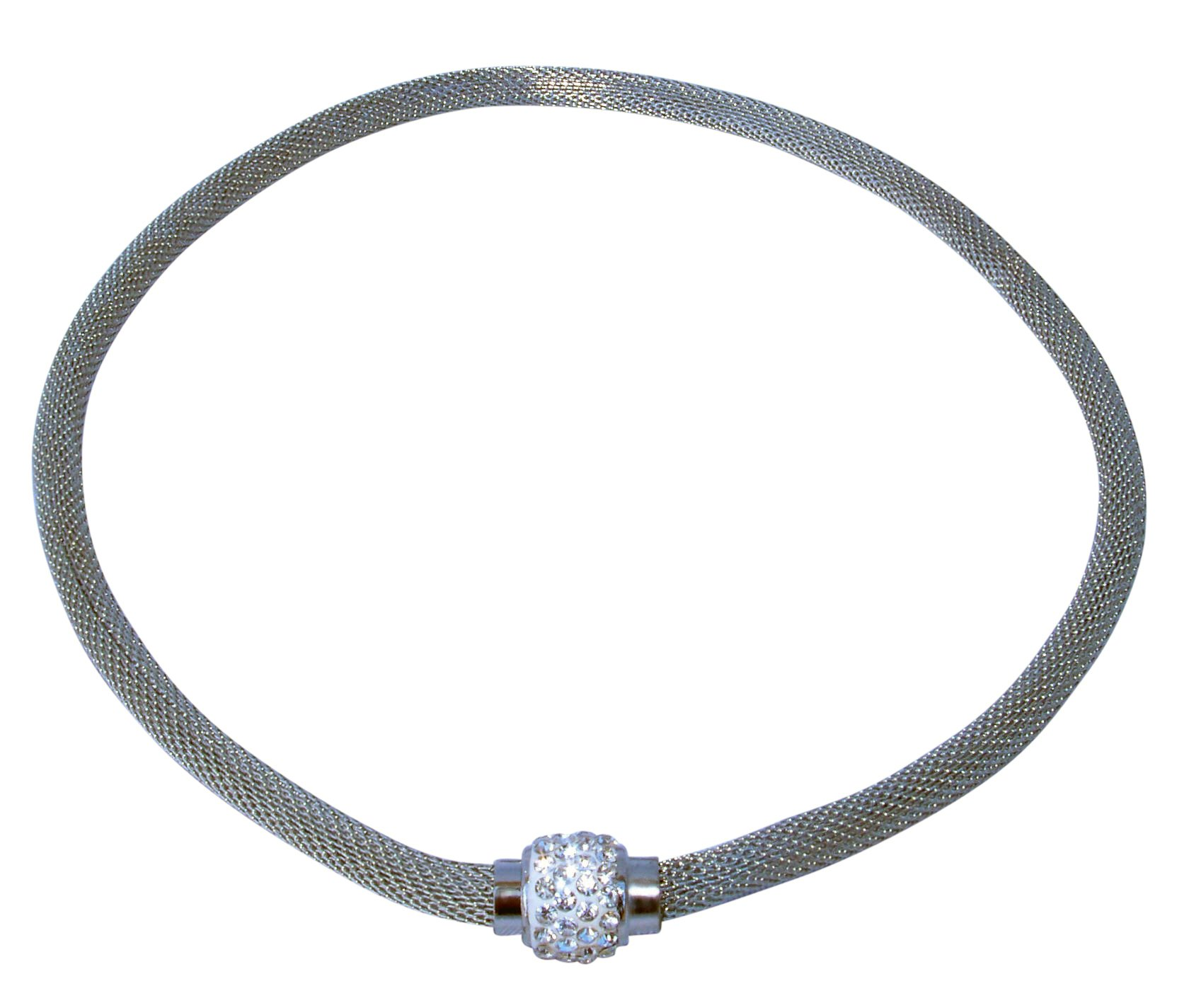 Stainless Steel Mesh Necklace with Magnetic Clasp
