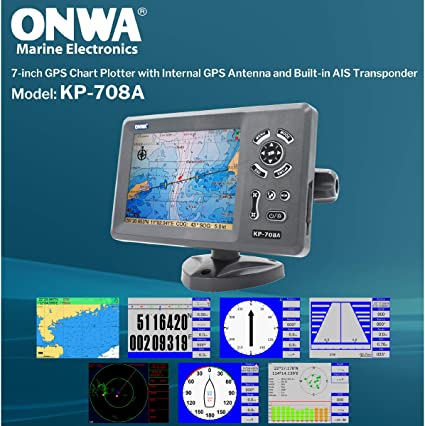ONWA KP-708A 7-Inch Color LCD Clase B AIS Transpondedor Combo Alta ...