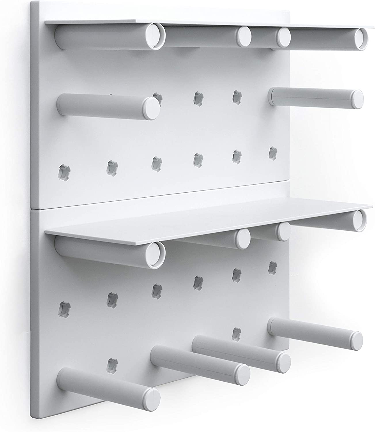 Morspace Peg Board Wall Display - Beautifully organise Your Home, Garage, Kitchen, Bedroom or Office Space with pegboard Wall décor and Organization (White)