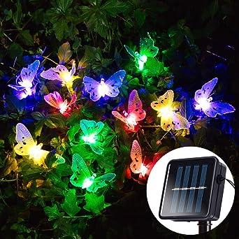 Artbro Mariposa LED Solar Luz 12 LED Luces de Jardín para casa, césped, Navidad, Boda y vacaciones decoración: Amazon.es: Iluminación