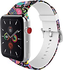 BMBEAR Sports Band Floral Bands Compatible with Apple Watch Band 38mm 40mm Soft Silicone Fadeless Pattern Printed Replacement Sport Band for iWacth Series 6 5 4 3 2 1 Black Jellyfish