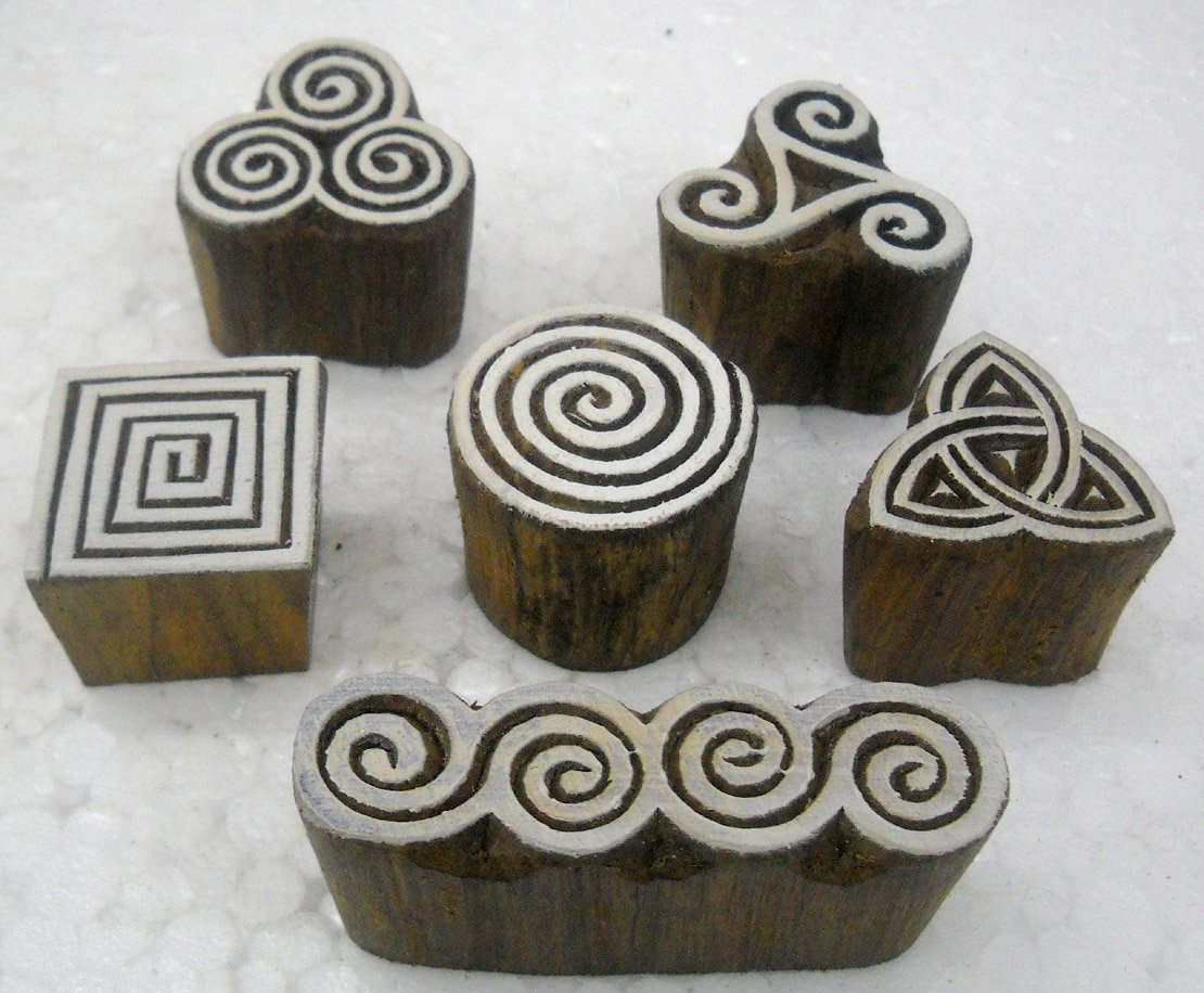 Wholesale Pack of Elegant Designs wooden block stamps/ Tattoo/ Indian Textile Printing Blocks Crafts of India