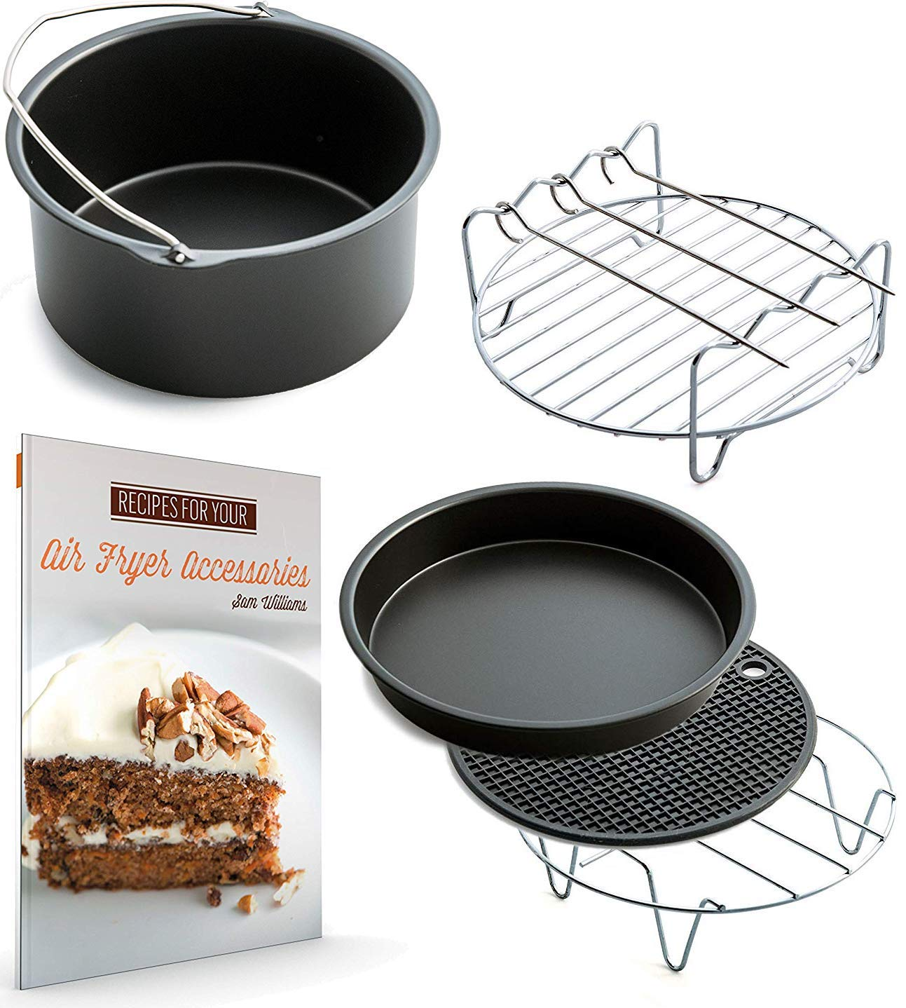 XL Air Fryer Accessories XL for Power Airfryer XL Gowise Cozyna and Phillips, Set of 5, includes a recipe book Fit all 5.3QT - 5.8QT