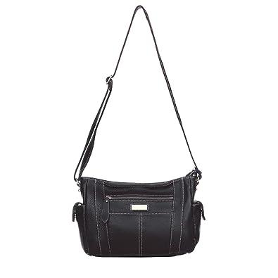 959b66937547 Aretha 141111-BL Genuine Cow Leather Women Cross Body Bag Black ...
