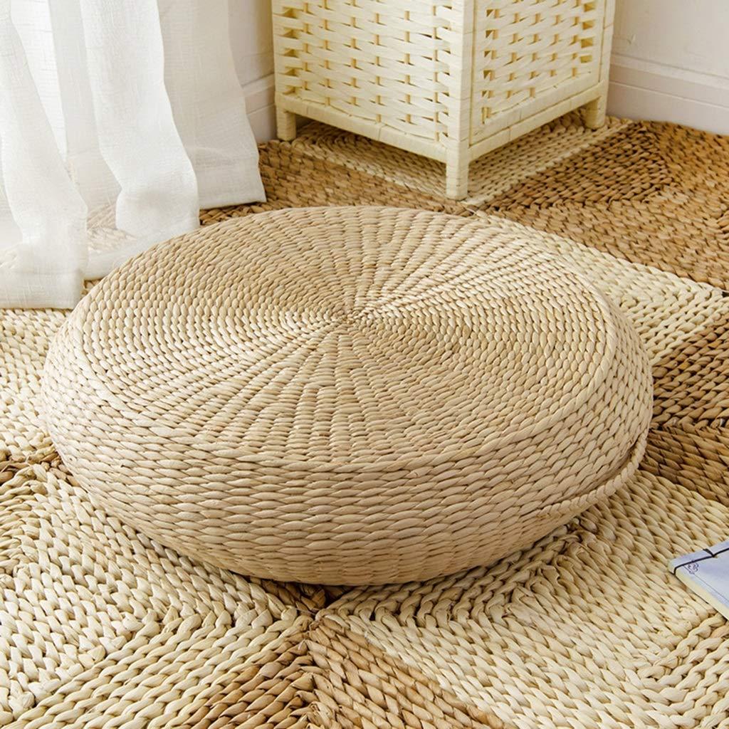 RXY-Wicker chair Japanese Rattan Breathable Sofa Tatami Yoga Mat Living Room Bedroom Cushion Meditation Meditation Cushion (Size : 60cm)