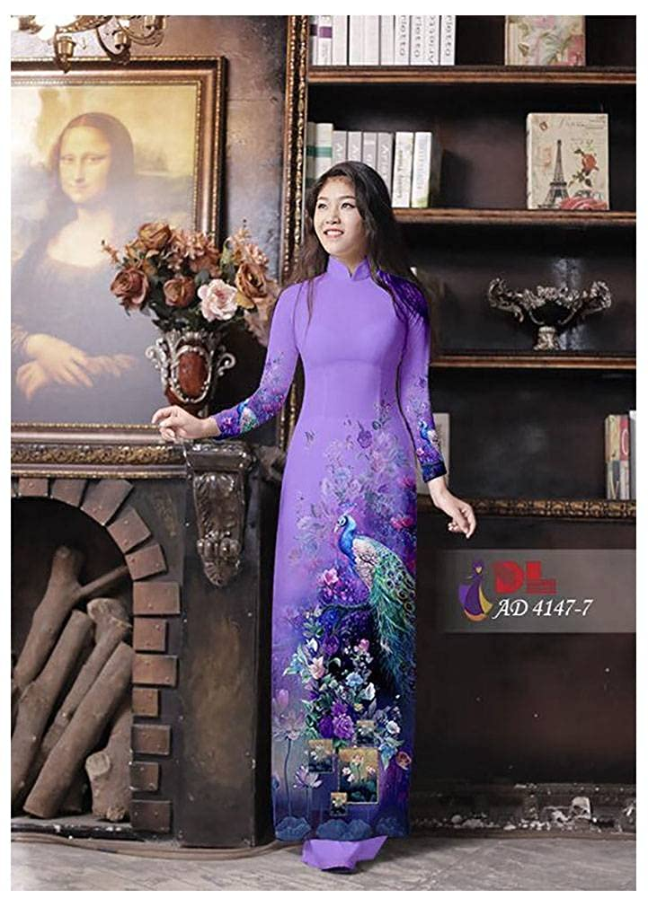 Ao Dai All Size Silk 3D Traditional Vietnamese Long Dress Collections with Pants ADVN00844