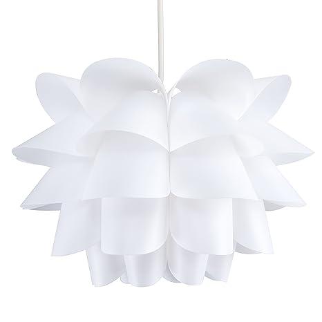 MiniSun - Moderna pantalla para lámpara de techo, de diseño enrevesado y color blanco