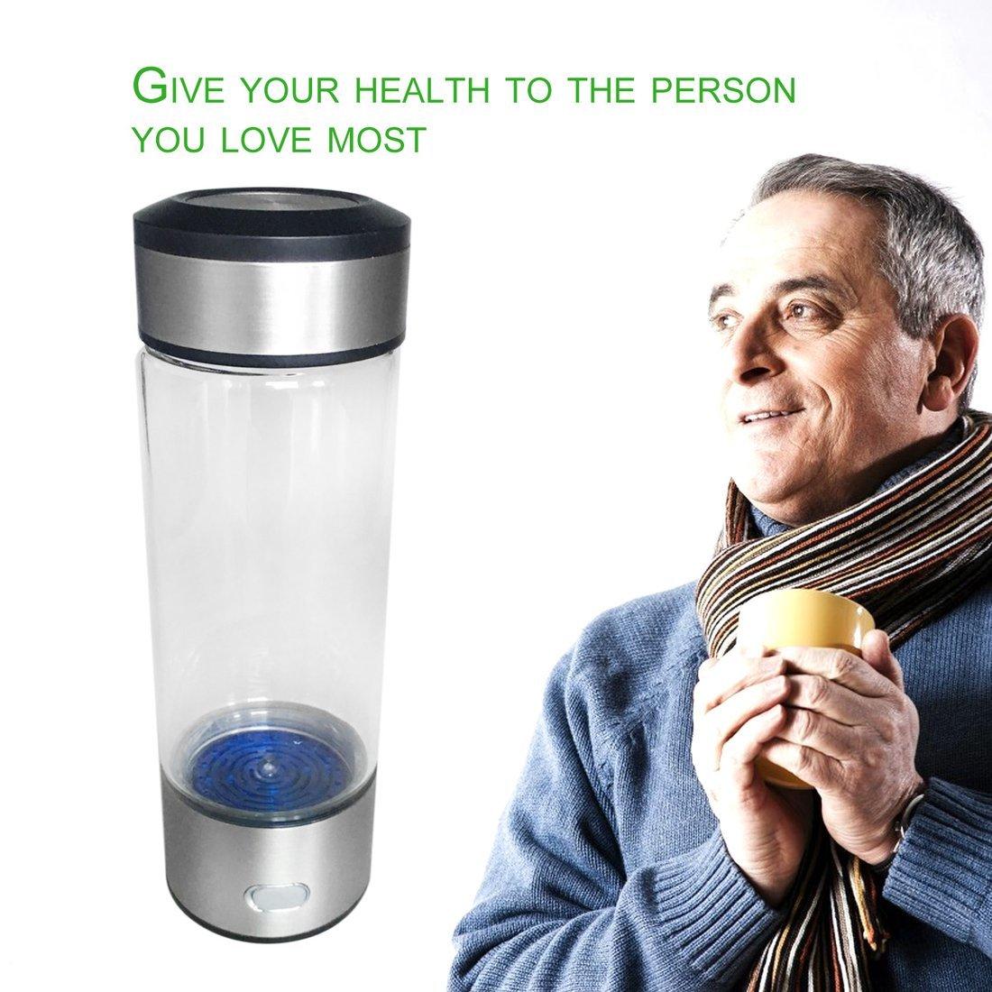Dailyinshop Bottiglia di acqua ricca di idrogeno Bottiglia di acqua Bottiglia di acqua libera di ionizzatore (colore  trasparente e argento)