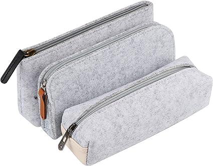Gydandir - Juego de 3 estuches de fieltro para lápices, estuches de papelería, estuche para cosméticos: Amazon.es: Oficina y papelería