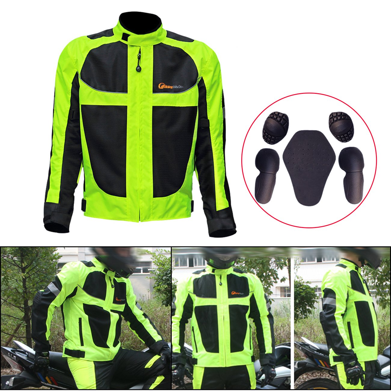 E-Most Outdoor Motorcycle Riding Racing Track Jacket With Fluorescent Reflective Stripe Windproof Waterproof Textile Jacket (Summer&Winter)
