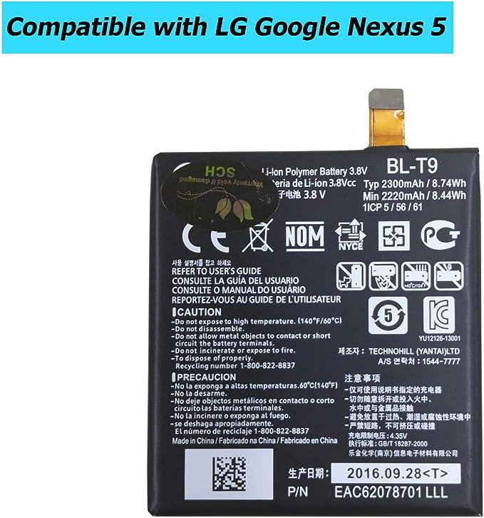 Ellenne Bater/ía compatible con LG BL-T19 para Google Nexus 5X BLT19 Alta capacidad 2700 mAh con kit de desmontaje incluido
