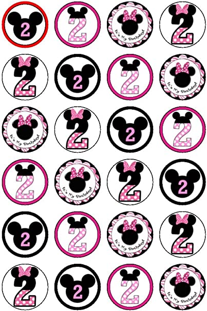 Marvelous 24 X Disney Minnie Mouse 2Nd Birthday Edible Cupcake Cake Toppers Funny Birthday Cards Online Necthendildamsfinfo