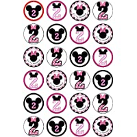 24 x Disney Minnie Mouse 2 nd Birthday comestible cupcake Cake Toppers
