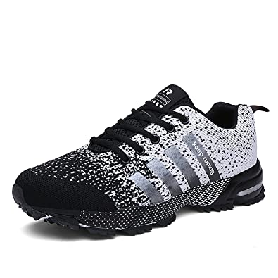 e0416faace3b Kuako Men Women Running Shoes Air Trainers Fitness Casual Sports Walk Gym  Jogging Athletic Sneakers  Amazon.co.uk  Shoes   Bags