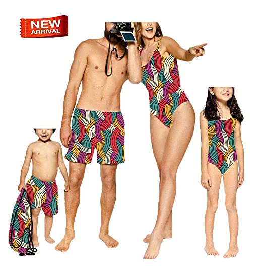 70ef4672f3b63 Mommy and Me Matching Swimwear One Piece Parent-Child Striped Bathing Suit  Daddy&Boy Swim Shorts