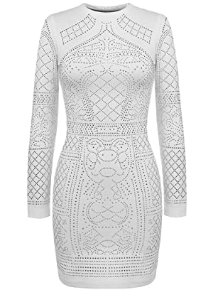 OURS Women's Sexy Diamond Sequined Pattern Slim Bodycon Cocktail Party Dress (XL, White)