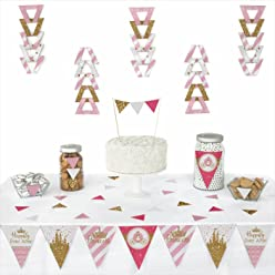 Big Dot of Happiness Little Princess Crown - Triangle Pink and Gold Princess Baby Shower or Birthday Party Decoration Kit - 72 Piece