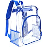 Heavy Duty Transparent Clear Backpack Plastic Bookbags See Through Backpacks for School (Blue)