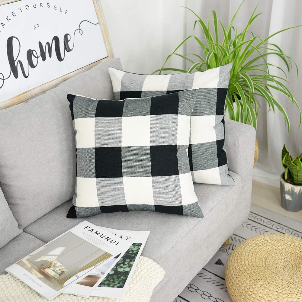 AENEY Farmhouse Decor Black and White Buffalo Check Pillow Covers 18x18 for Couch Set of 2 Plaid Throw Pillows