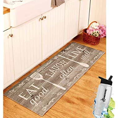 Gift Included- 55  PVC Kitchen Cushion Floor Runner Eat Laugh Live Decorative Rug Decor + FREE Bonus Water Bottle by Home Cricket