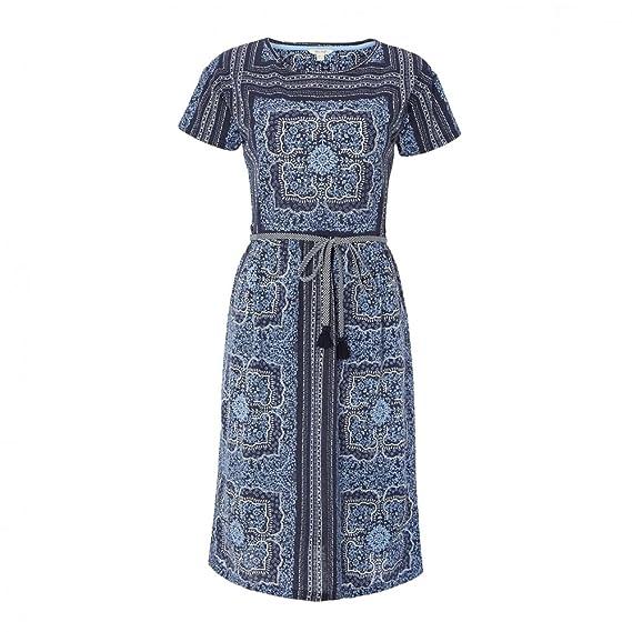 beb2f94c504843 White Stuff Indian Summer Womens Dress Ink Pot Blue Print UK10 EU38 US6:  Amazon.co.uk: Clothing