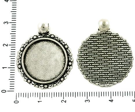 2pcs Antiguos de Ronda Tono de Plata Colgante Cabujón de Configuración Floral en Blanco Bisel de