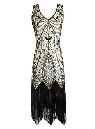 Jaoswish Damen 1920er Gatsby Kleid Flapper Retro 20er Jahre