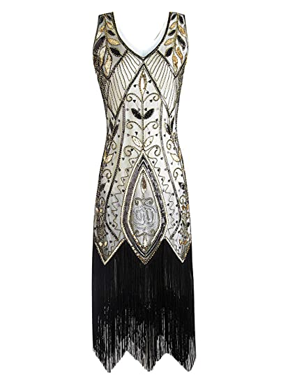 2552575e61e1 Women 1920s Flapper Dress Gatsby Vintage Plus Size Roaring 20s Dresses  Fringed Party Prom, Beige